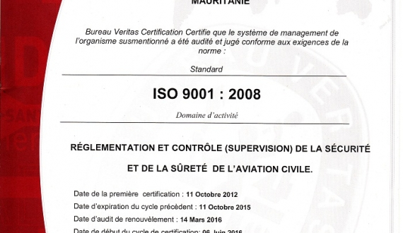 Receipt of certificate ISO 9001-2008 ANAC